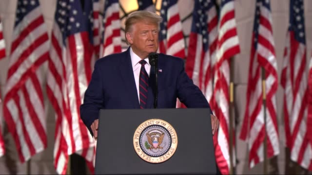 president donald trump says in live broadcast remarks to the republican national convention on the white house south lawn before an audience that in... - motivation stock videos & royalty-free footage