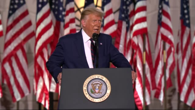 president donald trump says in live broadcast remarks to the republican national convention on the white house south lawn before an audience that... - partisan politics stock videos & royalty-free footage