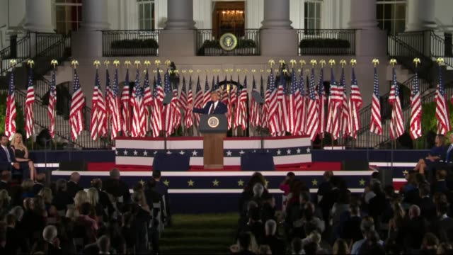 president donald trump says in live broadcast remarks to the republican national convention on the white house south lawn before an audience that the... - live broadcast stock videos & royalty-free footage
