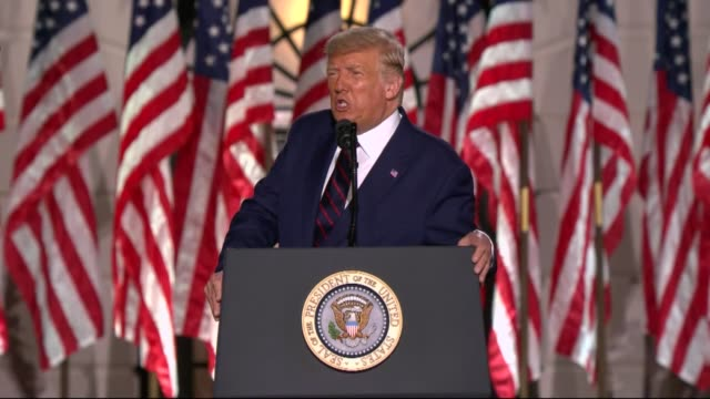 president donald trump says in live broadcast remarks to the republican national convention on the white house south lawn before an audience that two... - live broadcast stock videos & royalty-free footage