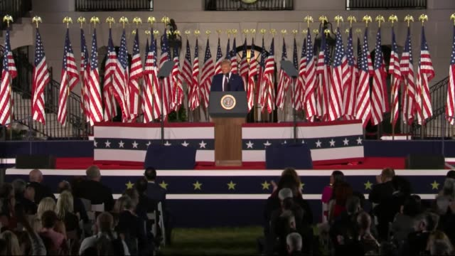 president donald trump says in live broadcast remarks to the republican national convention on the white house south lawn before an audience very... - live broadcast stock videos & royalty-free footage