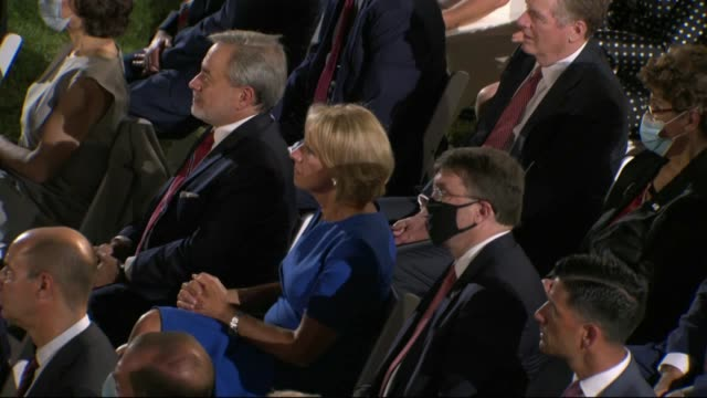 president donald trump says in live broadcast remarks to the republican national convention on the white house south lawn before an audience that joe... - live broadcast stock videos & royalty-free footage