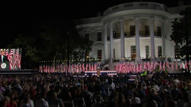 president donald trump says in live broadcast remarks to the republican national convention on the white house south lawn before an audience that at... - live broadcast stock videos & royalty-free footage