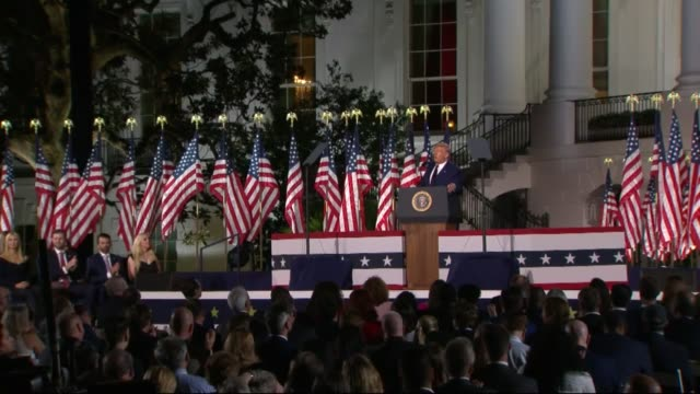 president donald trump says in live broadcast remarks to the republican national convention on the white house south lawn before an audience that and... - article stock videos & royalty-free footage