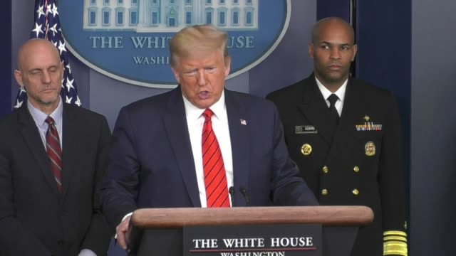 president donald trump says that the world is paying a big price for china's lack of transparency on the outbreak of coronavirus there several months... - press room stock videos & royalty-free footage