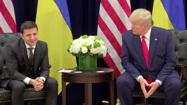 president donald trump shakes hands with ukrainian president volodymyr zelensky during a press conference. - 2019 stock videos & royalty-free footage