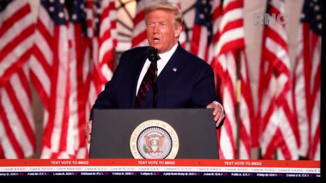 president donald trump speaking on the last night of the virtual republican national convention in charlotte, nc, u.s. on thursday, august 27, 2020. - 米国大統領選挙点の映像素材/bロール