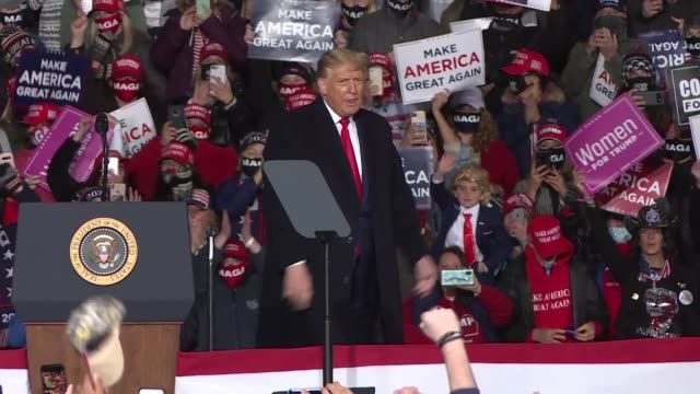 president donald trump speaks at a rally at north cost air on october 20, 2020 in erie, pennsylvania, usa. - political rally stock videos & royalty-free footage