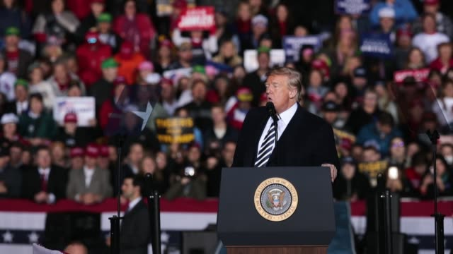 president donald trump speaks at a rally in support of u. s. senate candidate josh hawley on november 1, 2018 in columbia, missouri. - missouri stock videos & royalty-free footage