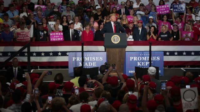 president donald trump speaks at a rally to show support for ohio republican congressional candidate troy balderson on august 4, 2018 in lewis... - ohio stock videos & royalty-free footage