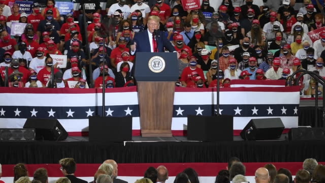 s president donald trump speaks during a campaign event at xtreme manufacturing on september 13 2020 in henderson nevada trump's visit comes after... - ネバダ州クラーク郡点の映像素材/bロール