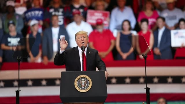 president donald trump speaks during a campaign rally at the hertz arena to help republican candidates running in the upcoming election on october 31... - southwest florida stock videos & royalty-free footage
