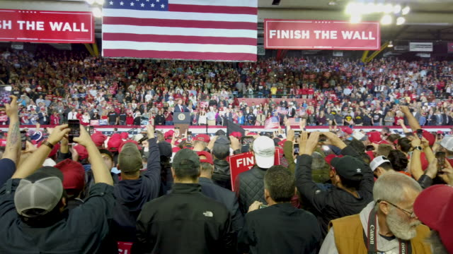president donald trump speaks during a rally at the el paso county coliseum on february 11, 2019 in el paso, texas. trump continues his campaign for... - political rally stock videos & royalty-free footage