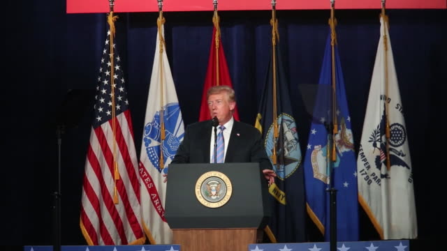 us president donald trump speaks during a salute to service dinner in white sulphur springs west virginia us on tuesday july 3 2018 - pult stock-videos und b-roll-filmmaterial