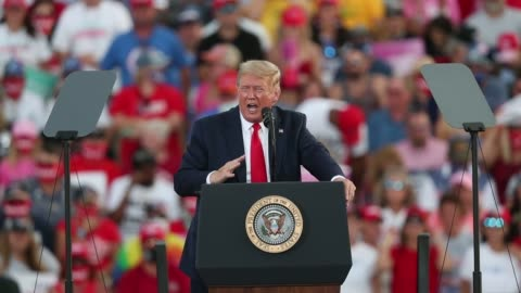 president donald trump speaks during his campaign event at the ocala international airport on october 16, 2020 in ocala, florida. president trump... - donald trump us president stock videos & royalty-free footage