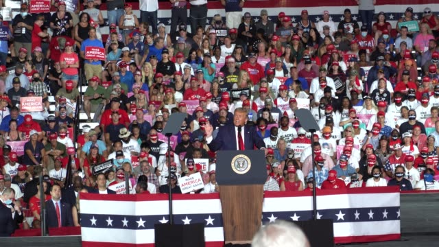 president donald trump speaks during his campaign event at the orlando sanford international airport on october 12, 2020 in sanford, florida. trump... - political rally stock videos & royalty-free footage