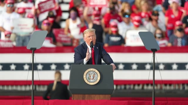 president donald trump speaks during his campaign event at the villages polo club on october 23, 2020 in the villages, florida. president trump... - political rally stock videos & royalty-free footage
