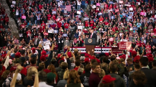 President Donald Trump speaks to supporters at a campaign rally at the MidAmerica Center on October 9 2018 in Council Bluffs Iowa