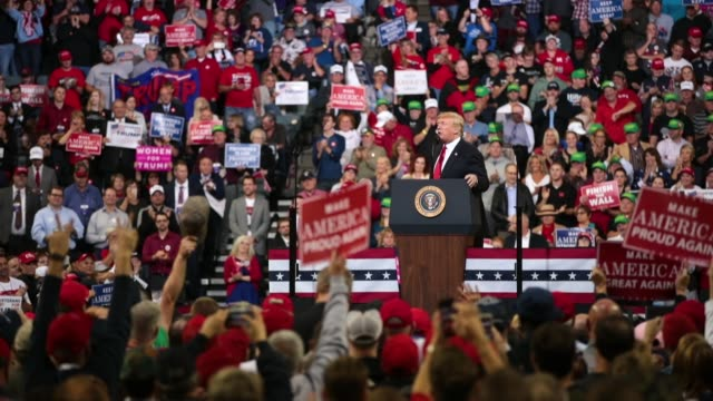 president donald trump speaks to supporters at a campaign rally at the midamerica center on october 9 2018 in council bluffs iowa - iowa stock videos & royalty-free footage