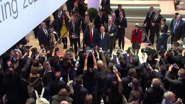 president donald trump speech / greta thunberg attacks world leaders response to the climate crisis switzerland davos int donald trump and klaus... - ダボス点の映像素材/bロール