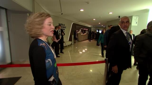 president donald trump speech / greta thunberg attacks world leaders response to the climate crisis switzerland davos int donald trump klaus schwab... - ダボス点の映像素材/bロール