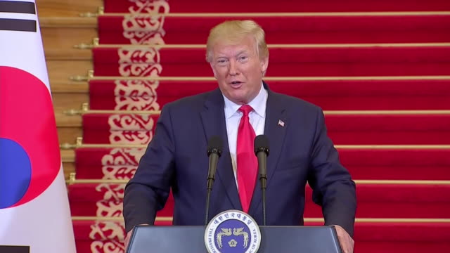 president donald trump talks about the òtremendous surgeó in the stock market after he won the election during a press conference in south korea. - business or economy or employment and labor or financial market or finance or agriculture stock videos & royalty-free footage