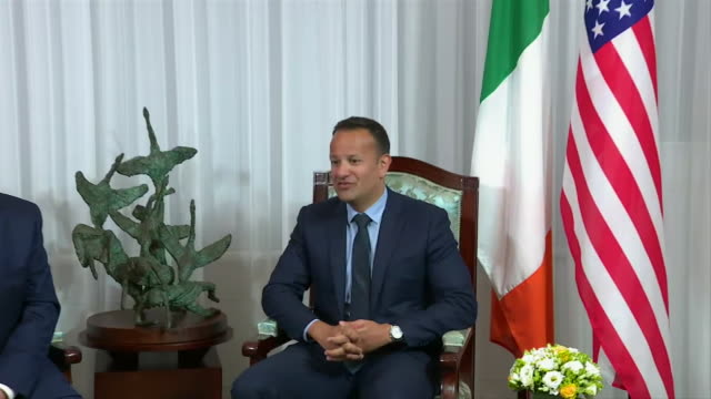 us president donald trump talks with taoiseach leo varadkar about brexit and the border with northern ireland - united states and (politics or government) stock videos & royalty-free footage