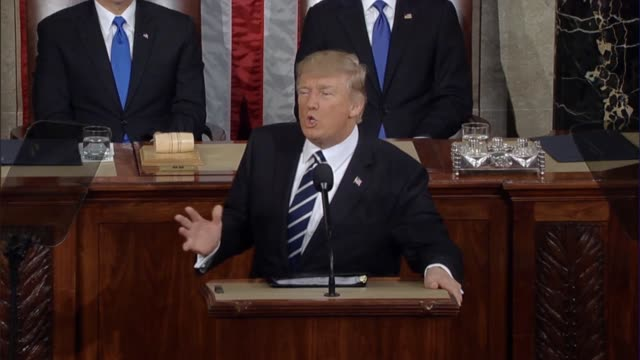 president donald trump tells a joint session of congress about the outlines of his hopes for the future of the country like discovering cures for... - joint session of congress stock videos and b-roll footage