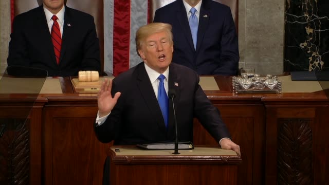 president donald trump tells a joint session of congress during his first state of the union address that america faces rogue regimes terrorist... - us military stock videos & royalty-free footage