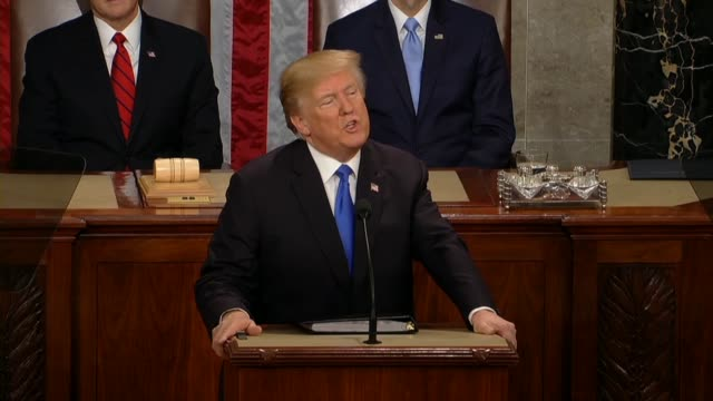 president donald trump tells a joint session of congress during his first state of the union address that open borders have allowed drugs and gangs... - united states congress video stock e b–roll