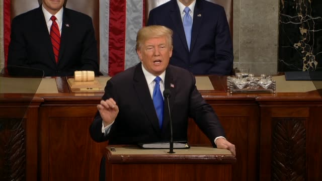 president donald trump tells a joint session of congress during his first state of the union address that in his drive to make washington more... - rede zur lage der nation usa stock-videos und b-roll-filmmaterial