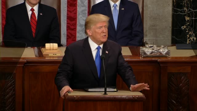 president donald trump tells a joint session of congress during his first state of the union address that americans love their country and they... - nomination stock videos & royalty-free footage