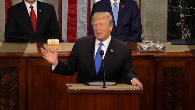 president donald trump tells a joint session of congress during his first state of the union address that all were incredibly grateful for the work... - rede zur lage der nation usa stock-videos und b-roll-filmmaterial