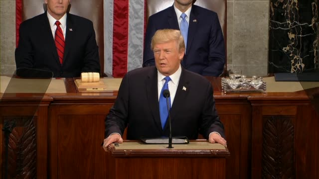 president donald trump tells a joint session of congress during his first state of the union address that in the last year america had made... - rede zur lage der nation usa stock-videos und b-roll-filmmaterial