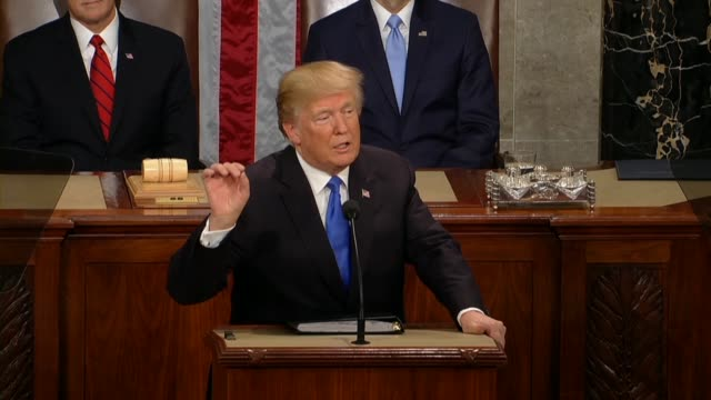 president donald trump tells a joint session of congress during his first state of the union address that an especially cruel tax that fell on... - 残酷点の映像素材/bロール