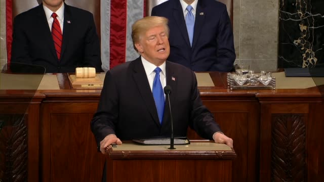 President Donald Trump tells a Joint Session of Congress during his first State of the Union address that atop the dome of this Capitol stands the...