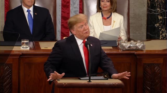 president donald trump tells a joint session of congress in his second state of the union address that 2019 marks 50 years since brave young pilots... - rede zur lage der nation usa stock-videos und b-roll-filmmaterial