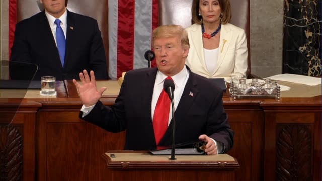president donald trump tells a joint session of congress in his second state of the union address that his administration had sent a commonsense... - stati del mid atlantic usa video stock e b–roll
