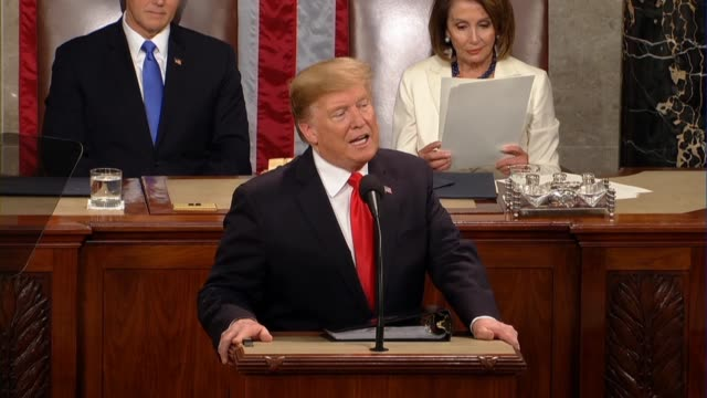 president donald trump tells a joint session of congress in his second state of the union address that to build on incredible economic success it was... - stati del mid atlantic usa video stock e b–roll