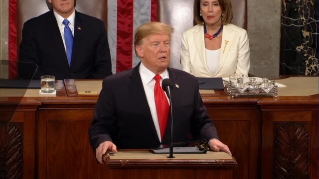 President Donald Trump tells a joint session of Congress in his second State of the Union address that the country is vibrant and the economy driving...