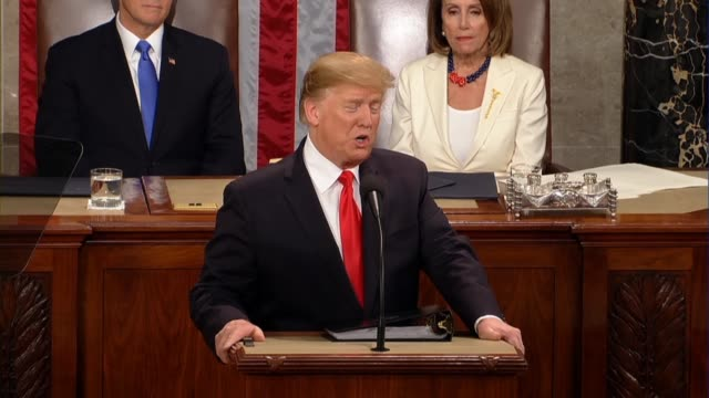 president donald trump tells a joint session of congress in his second state of the union address that he is eager to work on legislation to deliver... - legislation stock videos & royalty-free footage