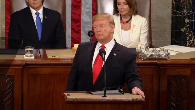 president donald trump tells a joint session of congress in his second state of the union address that another historic trade blunder was the... - joint session of congress stock videos and b-roll footage