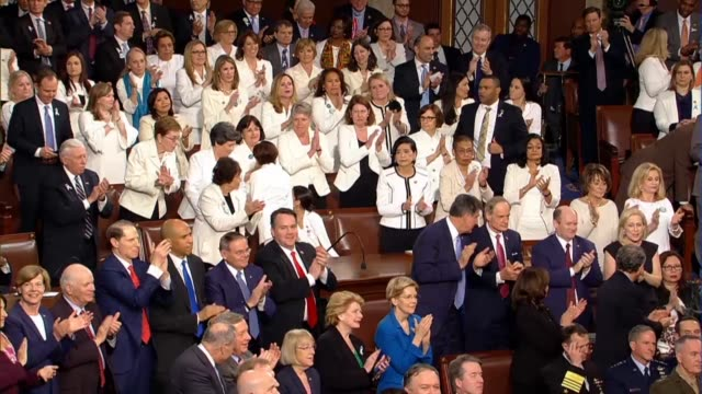 vídeos de stock, filmes e b-roll de president donald trump tells a joint session of congress in his second state of the union address that he is proud to be the first president to... - legislação