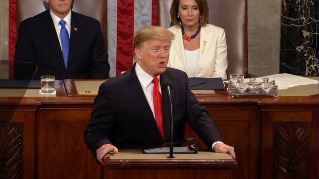president donald trump tells a joint session of congress in his second state of the union address that america stands with the people of venezuela... - socialism stock videos & royalty-free footage