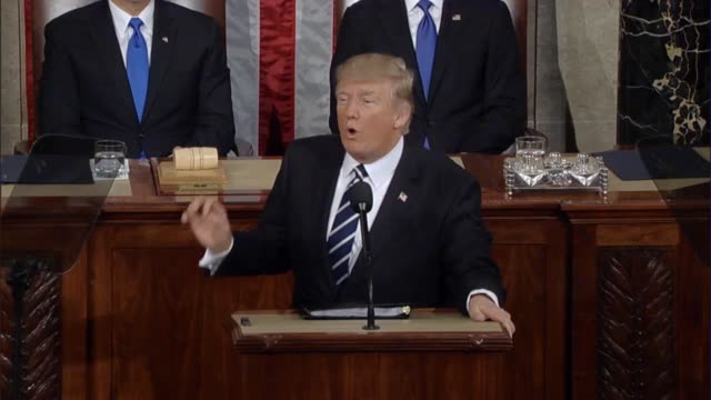 president donald trump tells a joint session of congress that america is friends with past enemies and that this should give everyone faith in the... - joint session of congress stock videos and b-roll footage