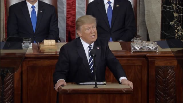 President Donald Trump tells a Joint Session of Congress that exported American products are taxed highly but the United States does not tax...