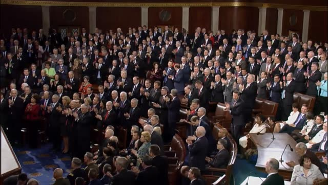president donald trump tells a joint session of congress that at the end of black history month the nation is reminded of the fight for civil rights... - joint session of congress stock videos and b-roll footage