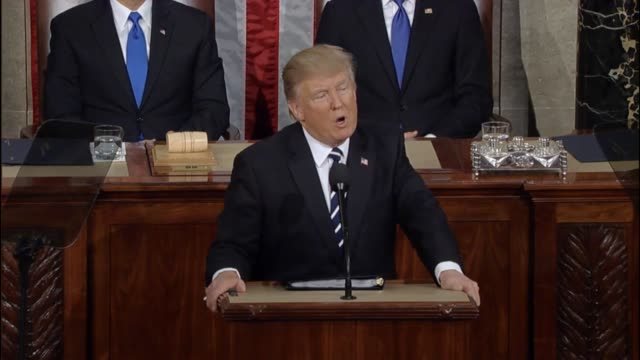 President Donald Trump tells a Joint Session of Congress that bridges of cooperation and trust must be built not division and disunity Trump says...