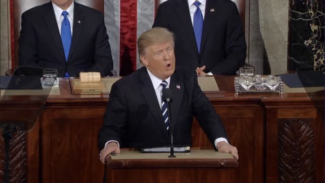 president donald trump tells a joint session of congress that he has imposed new sanctions on iran and has renewed the united states' relationship... - 制裁点の映像素材/bロール