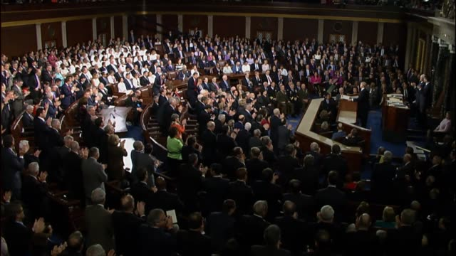 president donald trump tells a joint session of congress that education is the civil rights issue of our time saying that he is calling on... - joint session of congress stock videos and b-roll footage